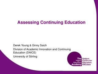 Assessing Continuing Education
