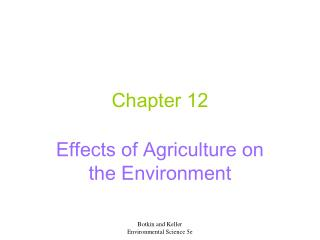 Effects of Agriculture on the Environment