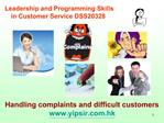Leadership and Programming Skills  in Customer Service DSS20328