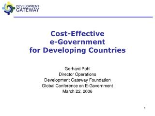 Cost-Effective  e-Government  for Developing Countries
