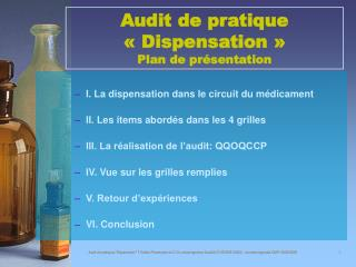 Audit de pratique   Dispensation   Plan de pr sentation