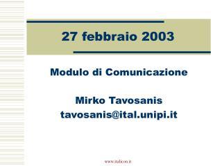 27 febbraio 2003