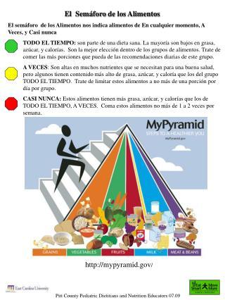 El  Sem foro de los Alimentos  El sem foro  de los Alimentos nos indica alimentos de En cualquier momento, A Veces, y Ca