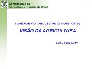 PLANEJAMENTO PARA O SETOR DE TRANSPORTES  VIS O DA AGRICULTURA