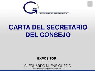CARTA DEL SECRETARIO DEL CONSEJO
