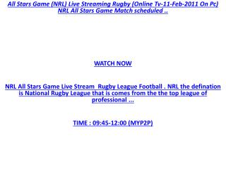 NRL !! Watch 7 EnjoY : NRL All Stars Game Live Stream @ Rugb