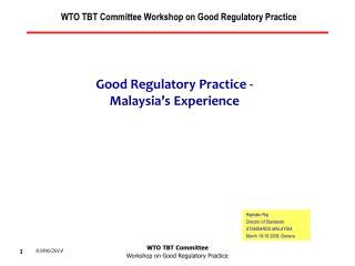 WTO TBT Committee  Workshop on Good Regulatory Practice