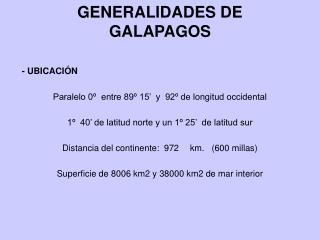 GENERALIDADES DE GALAPAGOS