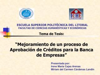 ESCUELA SUPERIOR POLIT CNICA DEL LITORAL FACULTAD DE CIENCIAS HUMAN STICAS Y ECON MICAS