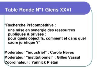 Table Ronde N 1 Giens XXVI