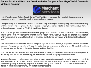 Robert Parisi and Merchant Services Irvine Supports San Dieg