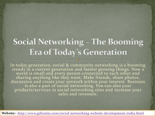 Social Networking – The Booming Era of Today's Generation