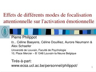 Effets de diff rents modes de focalisation attentionnelle sur lactivation  motionnelle