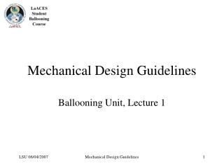 Mechanical Design Guidelines