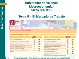 Universitat de Val ncia Macroeconom a I Curso 2009-2010   Tema 5   El Mercado de Trabajo