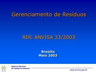 Gerenciamento de Res duos   RDC ANVISA 33