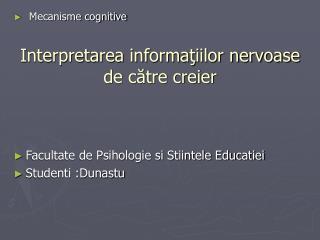 Interpretarea informatiilor nervoase de catre creier