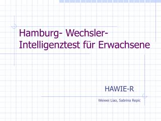 Hamburg- Wechsler-Intelligenztest f r Erwachsene