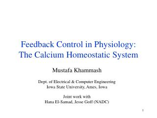 Feedback Control in Physiology: The Calcium Homeostatic System