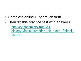 Complete online Rutgers lab first Then do this practice test with answers cytochemistry