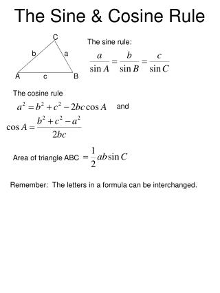 The Sine  Cosine Rule