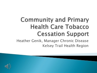 Community and Primary Health Care Tobacco Cessation Lessons