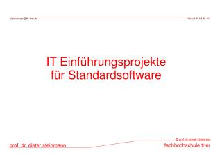 IT Einf hrungsprojekte f r Standardsoftware