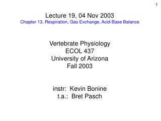 Lecture 19, 04 Nov 2003 Chapter 13, Respiration, Gas Exchange, Acid-Base Balance   Vertebrate Physiology ECOL 437 Univer