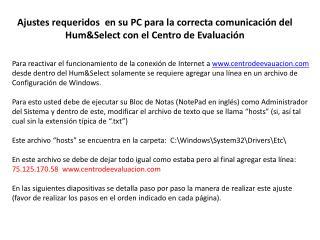 Ajustes requeridos  en su PC para la correcta comunicaci n del HumSelect con el Centro de Evaluaci n