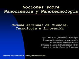 Nociones sobre  Nanociencia y Nanotecnolog a