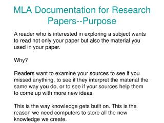 MLA Documentation for Research Papers--Purpose