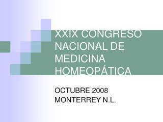 XXIX CONGRESO NACIONAL DE MEDICINA HOMEOP TICA