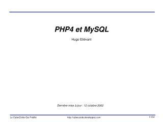 PHP4 et MySQL