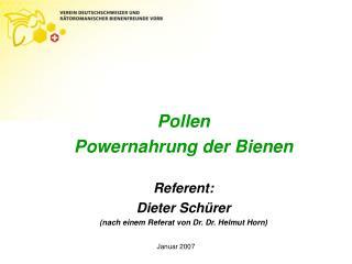 Pollen Powernahrung der Bienen  Referent: Dieter Sch rer nach einem Referat von Dr. Dr. Helmut Horn