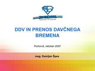 DDV IN PRENOS DAVCNEGA BREMENA