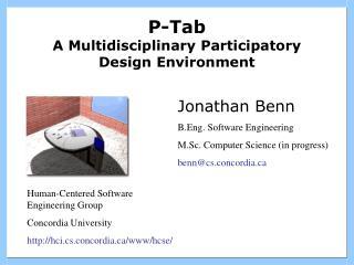 P-Tab A Multidisciplinary Participatory Design Environment