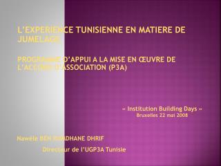 L EXPERIENCE TUNISIENNE EN MATIERE DE JUMELAGE   PROGRAMME D APPUI A LA MISE EN  UVRE DE L ACCORD D ASSOCIATION P3A