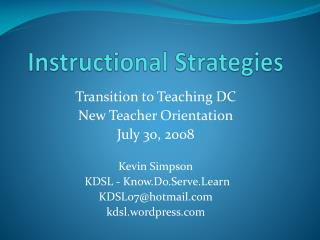 Instructional Strategies