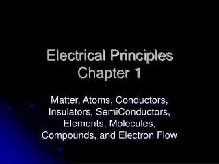 Electrical Principles Chapter 1