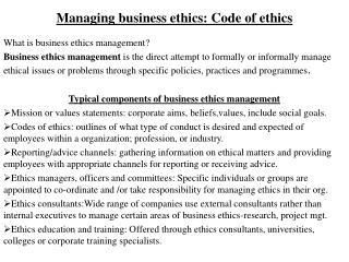 Managing business ethics: Code of ethics