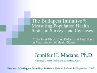 The Budapest Initiative: Measuring Population Health Status in Surveys and Censuses    The Joint UNECE