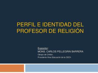 PERFiL E Identidad DEL PROFESOR DE RELIGI N