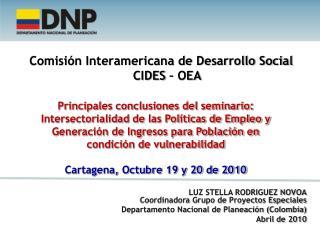 Comisi n Interamericana de Desarrollo Social CIDES   OEA