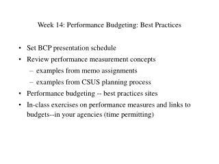 Week 14: Performance Budgeting: Best Practices
