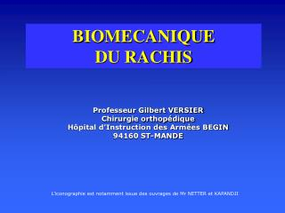BIOMECANIQUE  DU RACHIS