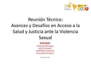 Reuni n T cnico: Avances y Desaf os en Acceso a la Salud y Justicia ante la Violencia Sexual
