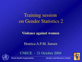 Training session  on Gender Statistics 2