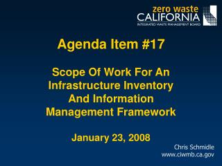 Agenda Item 17  Scope Of Work For An Infrastructure Inventory And Information Management Framework   January 23, 2008