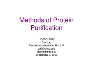 Methods of Protein Purification