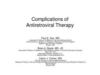 Complications of  Antiretroviral Therapy